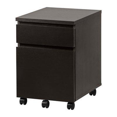 МАЛЬМ Тумба с ящиками на колесах - черно-коричневый
