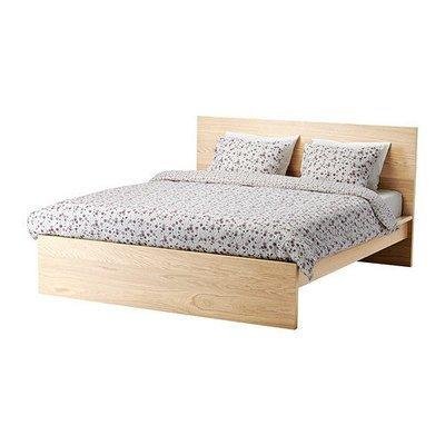МАЛЬМ Каркас кровати, высокий - 160x200 см, -, дубовый шпон, беленый