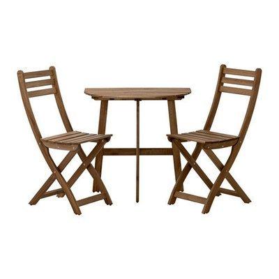 АСКХОЛЬМЕН Стол+2 складных стула, д/сада - Аскхольмен серый/коричневый
