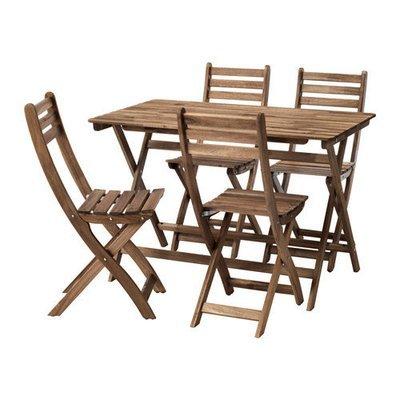АСКХОЛЬМЕН Стол+4 стула, д/сада - Аскхольмен серо-коричневая морилка