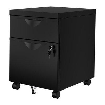 ЭРИК Тумба на колесиках с 2 ящиками - черный