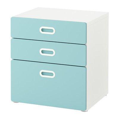СТУВА / ФРИТИДС Комод с 3 ящиками - белый/голубой