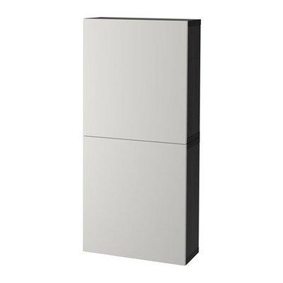 БЕСТО Навесной шкаф с 2 дверями - черно-коричневый/Лаппвикен светло-серый