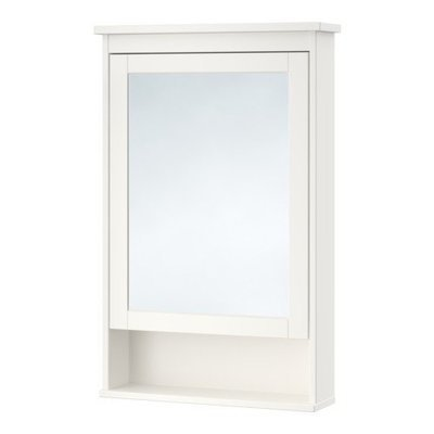 ХЕМНЭС Зеркальный шкаф с 1 дверцей - белый