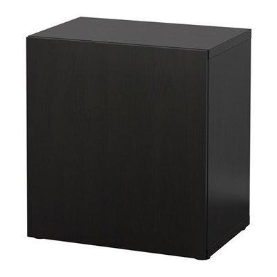 БЕСТО Стеллаж с дверью - черно-коричневый/Лаппвикен черно-коричневый