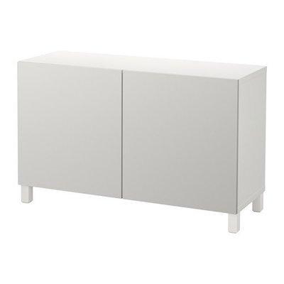 БЕСТО Комбинация для хранения с дверцами - белый/Лаппвикен светло-серый, 120x40x74 см