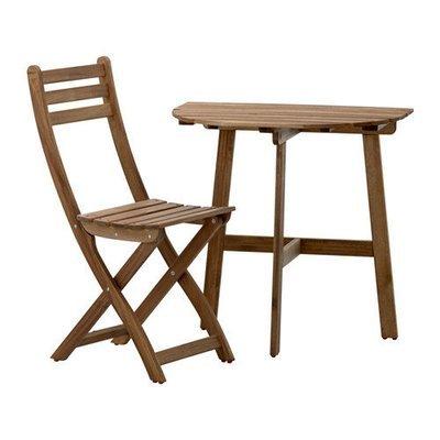 АСКХОЛЬМЕН Стол+1 складной стул, д/сада - Аскхольмен серо-коричневая морилка