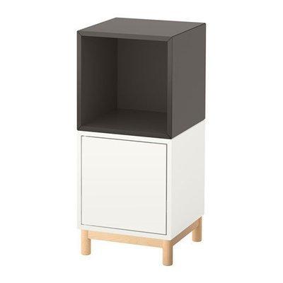ЭКЕТ Комбинация шкафов с ножками - белый/темно-серый