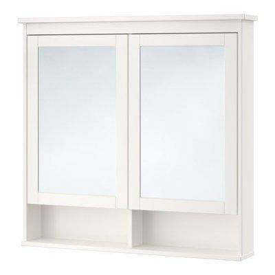ХЕМНЭС Зеркальный шкаф с 2 дверцами - белый, 103x16x98 см
