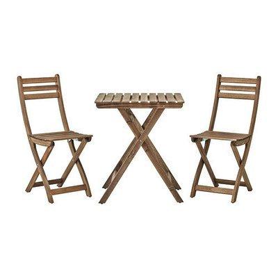 АСКХОЛЬМЕН Стол+2стула,д/сада - Аскхольмен серо-коричневая морилка