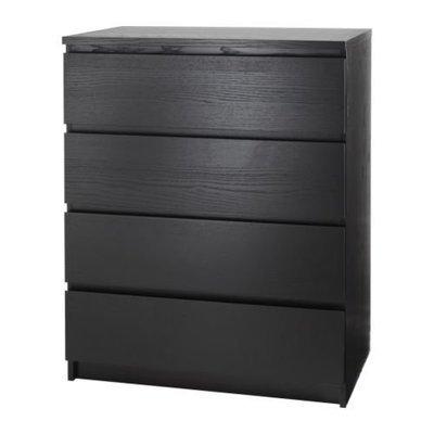МАЛЬМ Комод с 4 ящиками - черно-коричневый