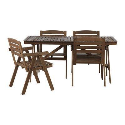 ФАЛЬХОЛЬМЕН Стол+4 кресла, д/сада - Фальхольмен светло-коричневая морилка