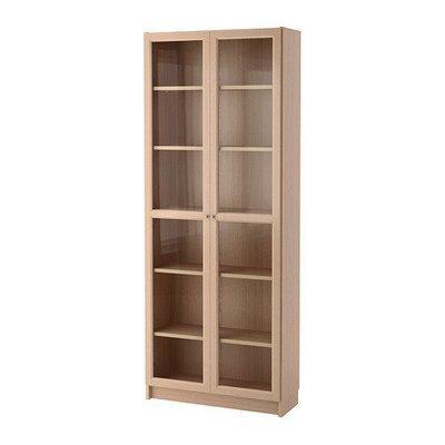 БИЛЛИ / ОКСБЕРГ Шкаф книжный со стеклянной дверью - дубовый шпон, беленый/стекло