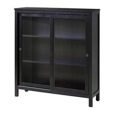 ХЕМНЭС Шкаф-витрина - черно-коричневый