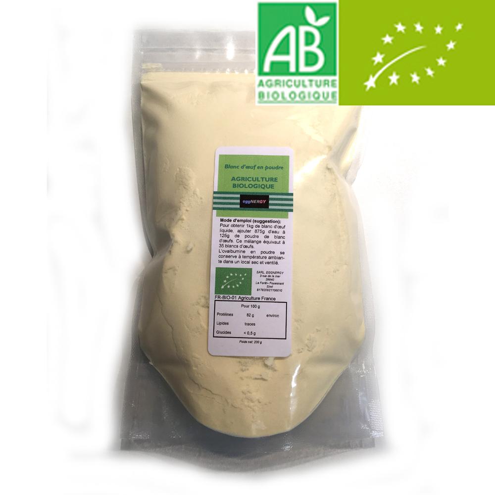 200 g Bio Code 0 Blanc d'œuf poudre (Nature, Fraise, Cacao ou Vanille)