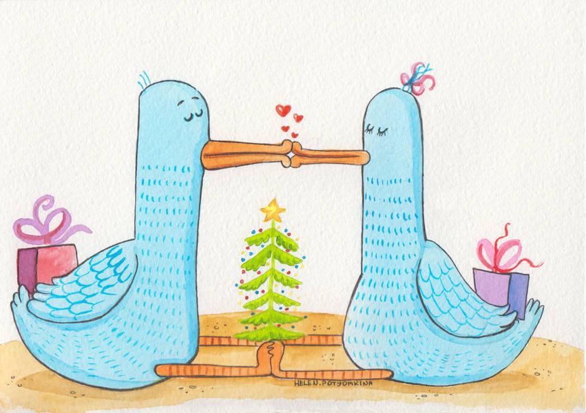"""Открытка """"Цього року цілуйте коханих частіше!"""""""