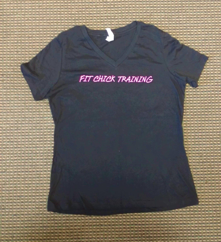 Fit Chick Training - Black V Neck T-Shirt