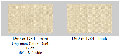 "D60:  60"" wide 12 oz. unprimed art duck- 6 yard roll"