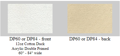 "DP60S: Sanded 60"" #12 double acrylic primed cotton art canvas- 6 yard roll"