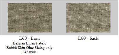 "L60: Belgian linen, rabbit skin glue size only- 60""x6 yard roll"
