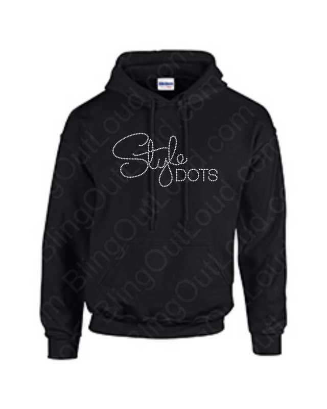 Style Dots Logo Rhinestone Bling Pullover Hoodie