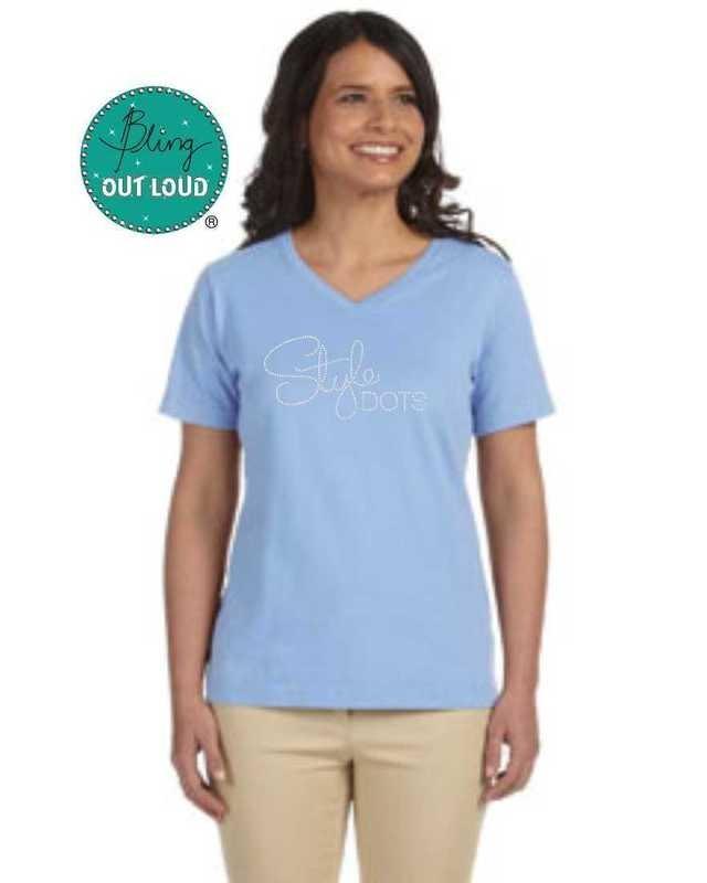 Style Dots Logo Rhinestone Bling T-shirt - Light Blue