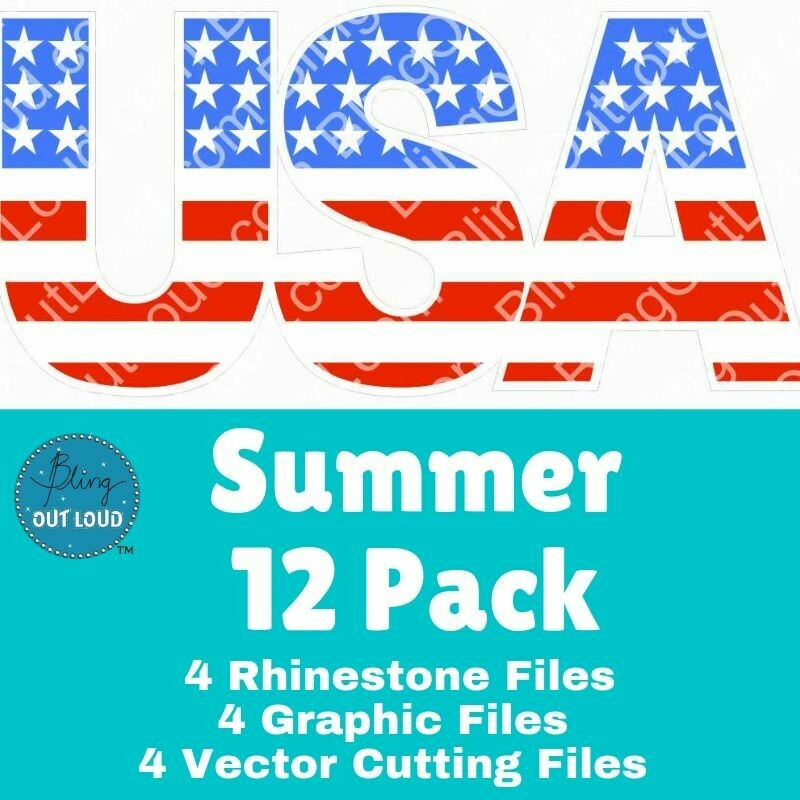 Summer 12 Pack - Rhinestones, Sublimation, & SVG Files BUNDLE