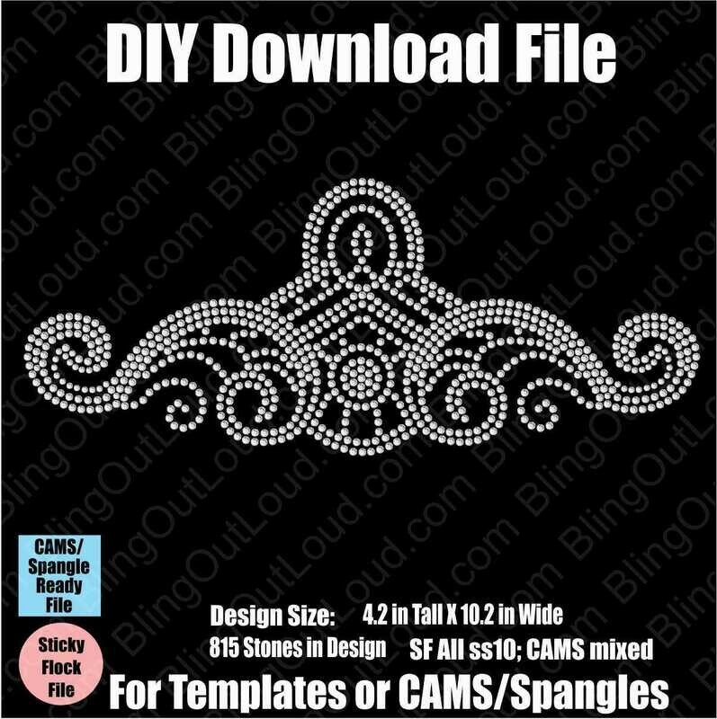 Large Flourish DIY Rhinestone Template File