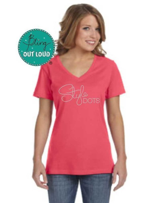 Style Dots Logo Rhinestone Bling T-shirt - Coral