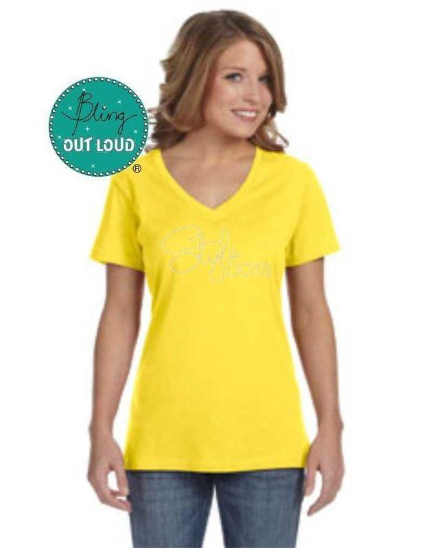 Style Dots Logo Rhinestone Bling T-shirt - Yellow