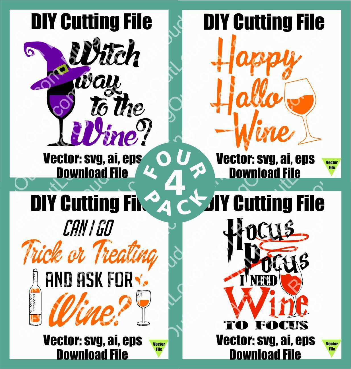 Hallo-Wine 4 pack SVG DIY Vector Instant Download Cutting File CUTHalloWine4pack
