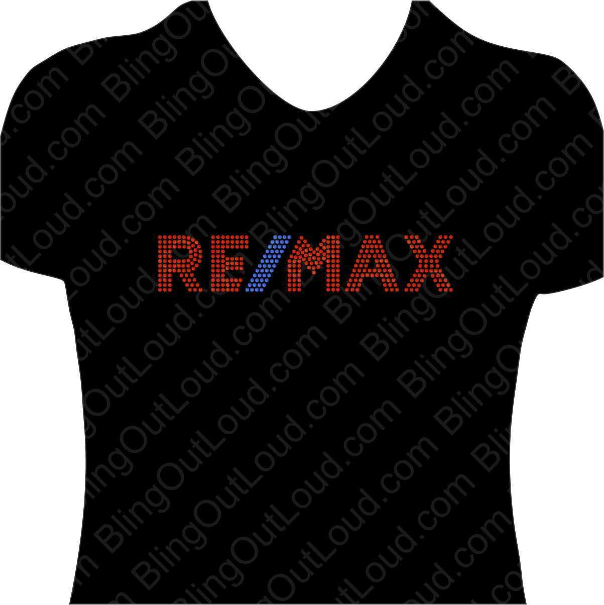 Re/Max Realty Realtors Rhinestone Bling Realtor Logo Ladies Tee ReMax BLing Tee
