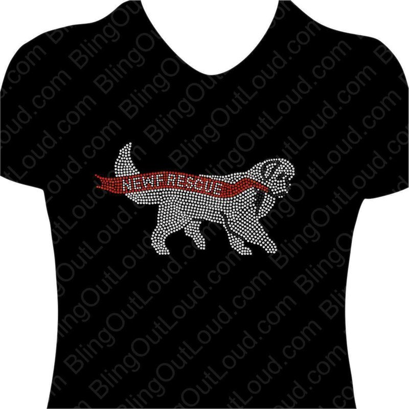 Newf Rescue 2019 Rhinestone Bling T-shirt