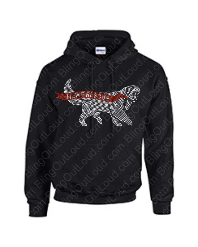 Newf Rescue 2019 Rhinestone Bling Pullover Hoodie