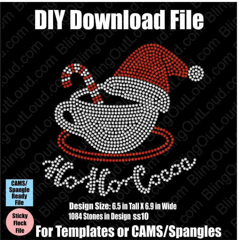 Ho Ho Cocoa Christmas Cheer DIY Rhinestone Download File for Templates or CAMS/ProSpangle