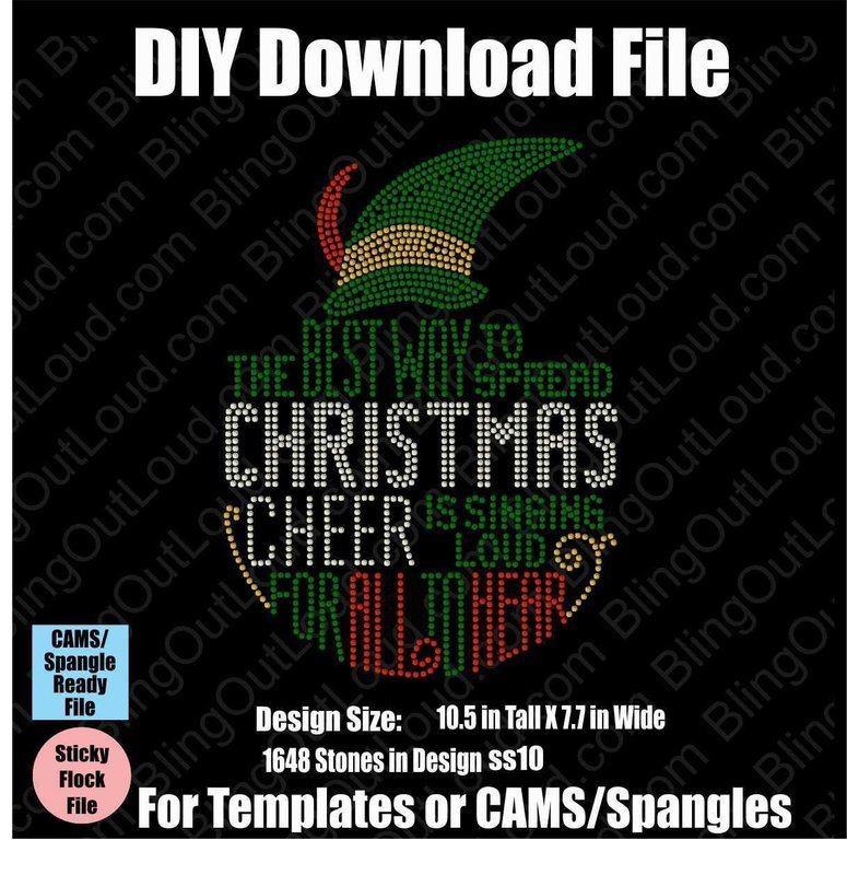 Elf Christmas Cheer DIY Rhinestone Download File for Templates or CAMS/ProSpangle