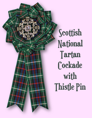 Scottish National Tartan Cockade with Thistle Pin