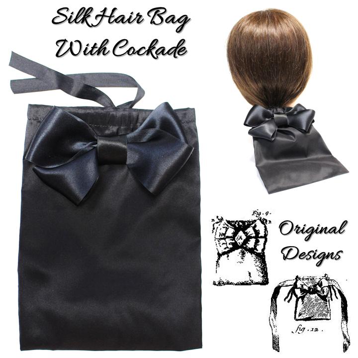 Silk Hair Bag with Bow Cockade