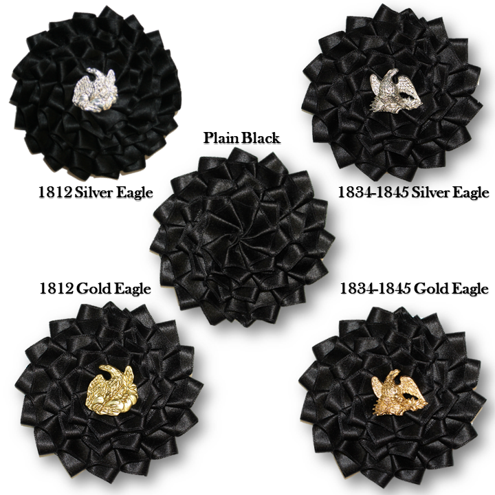 Black Silk Officer's Cockade with Eagle