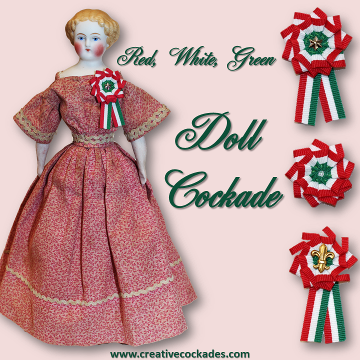 Red, White & Green Doll Cockade