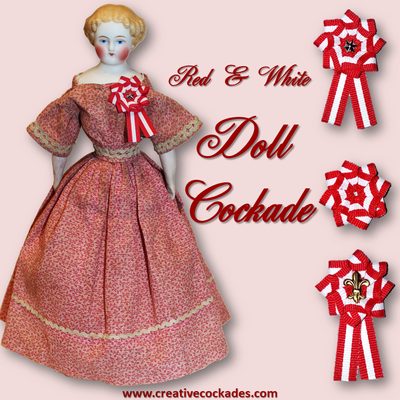 Red & White Doll Cockade