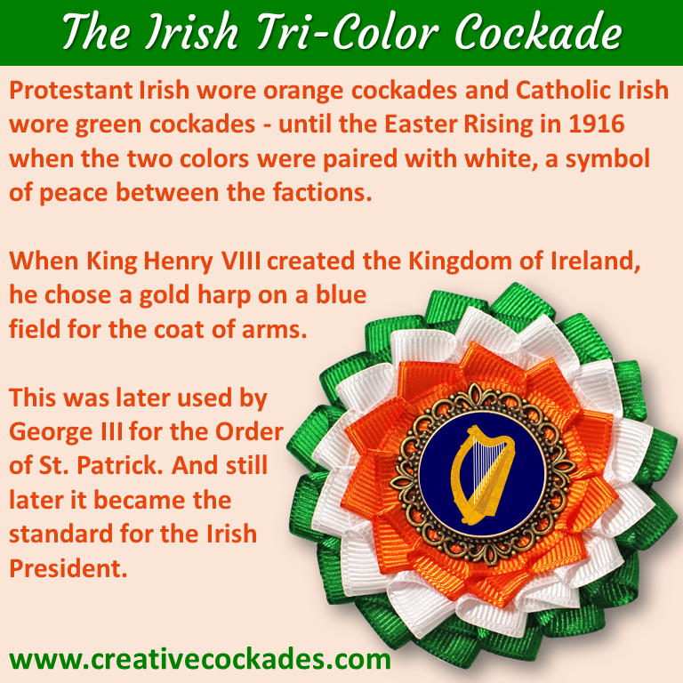 Tricolor Irish Harp Cockade