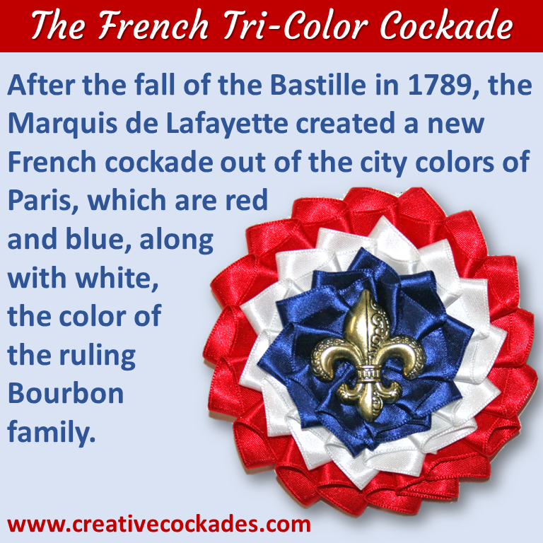 French Tricolor Cockade with Fleur de Lis