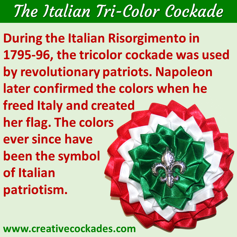 Italian Tricolor Cockade with Fleur de Lis