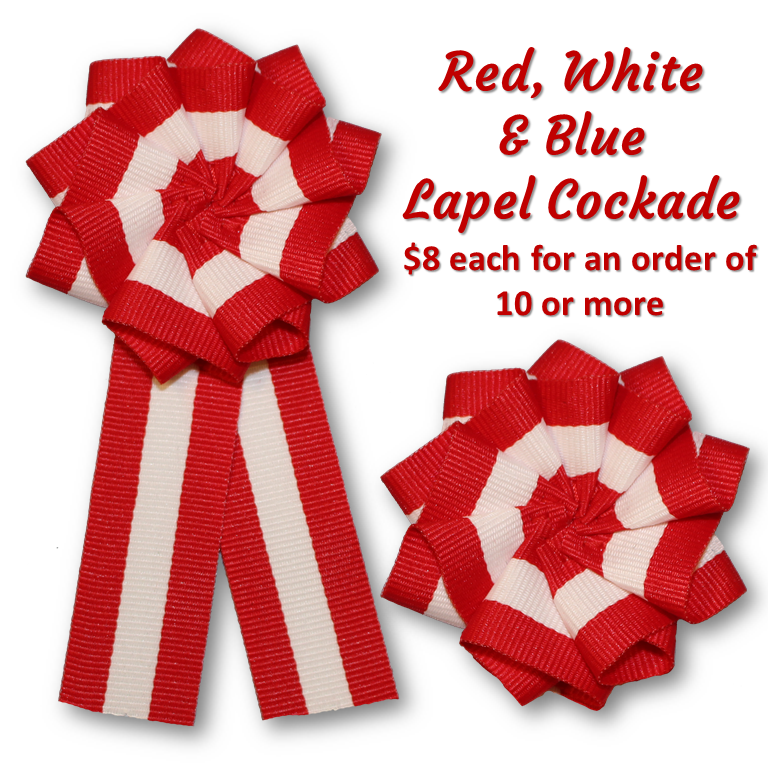 Red & White Lapel Cockade