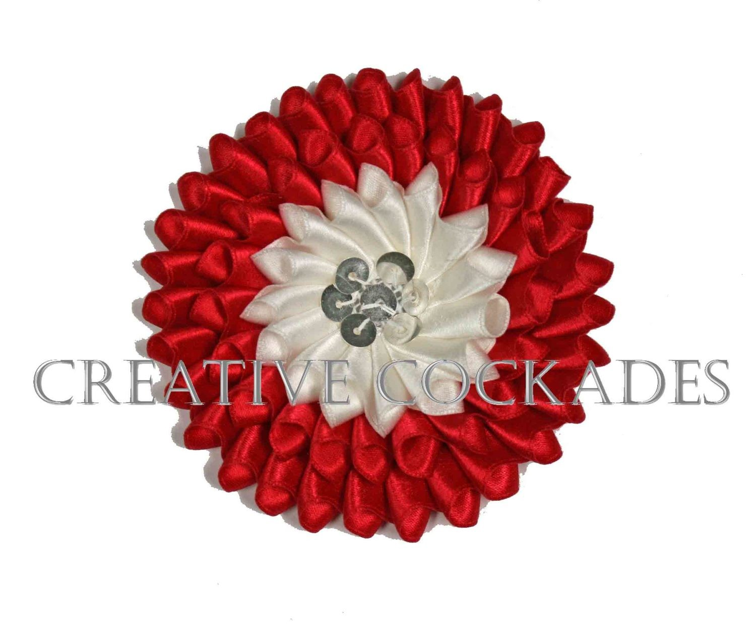 Red and White Silk Secession Cockade with Spangles