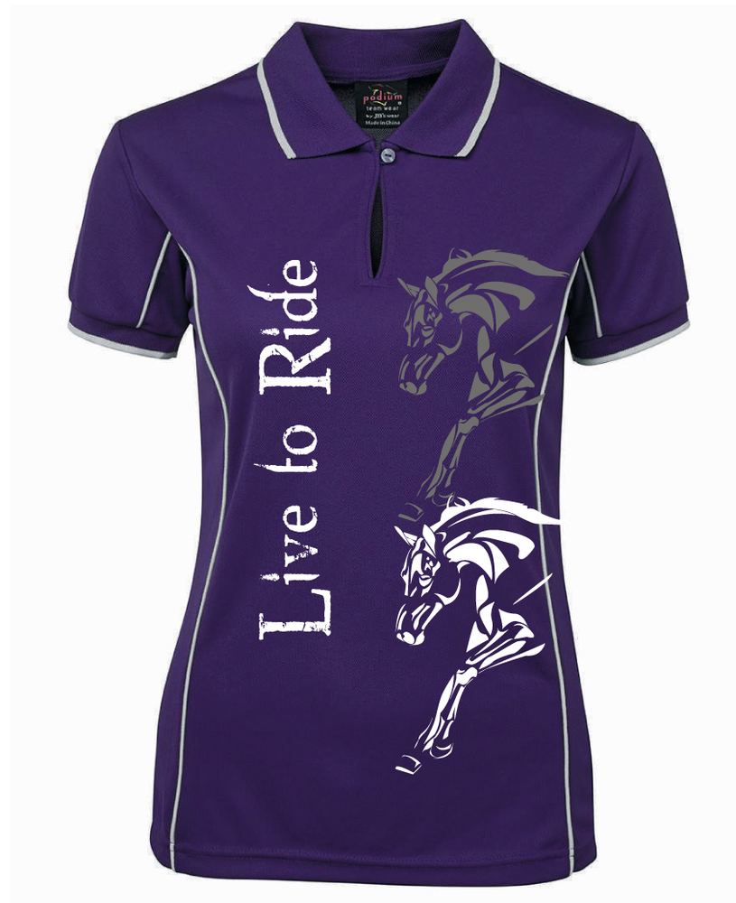 """Live To Ride"" Polo - Ladies CoolDri"