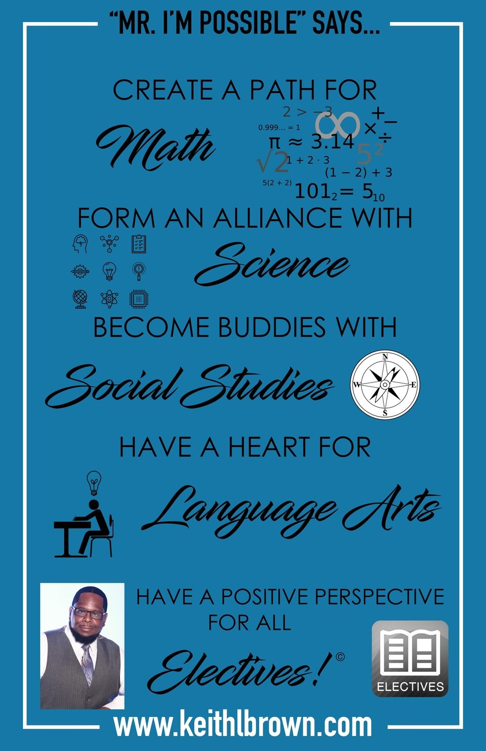 Keith L. Brown Blue Education Poster (Quantities beginning at 10)