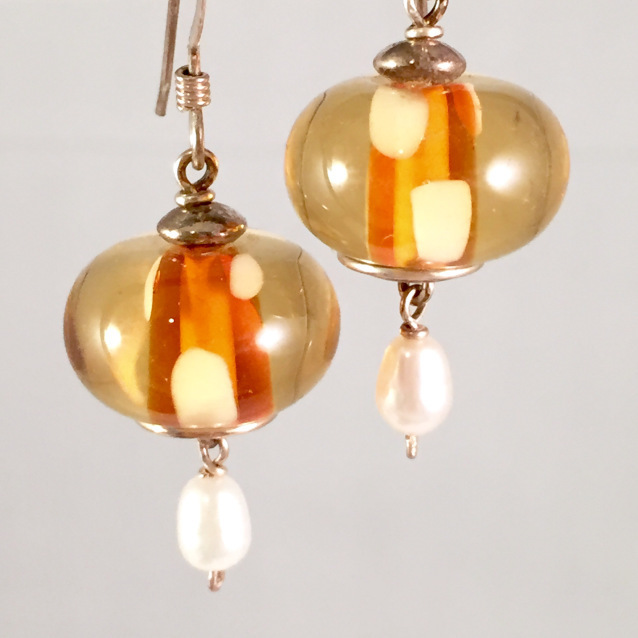 Amber encased earrings