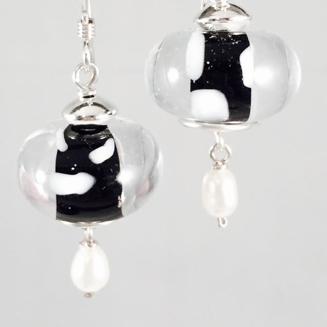 Black encased earrings
